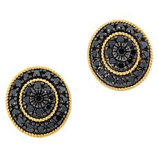 Rarities Gold-Plated 1.50ctw Black Diamond Oval Stud Earrings