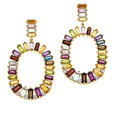Rarities Gold-Plated Baguette Multi-Gemstone Drop Earrings