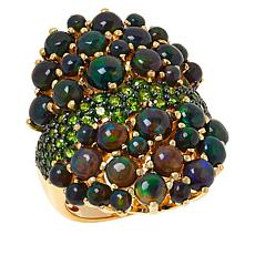 Rarities  Gold-Plated Black Opal and Chrome Diopside Ring