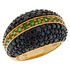 Rarities Gold-Plated Black Spinel and Chrome Diopside Domed Ring