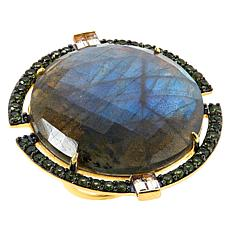 Rarities  Gold-Plated Blue Labradorite and Multi-Gemstone Ring