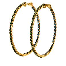 Rarities Gold-Plated Colored Gemstone Inside-Outside Hoop Earrings