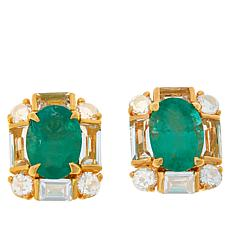 Rarities Gold-Plated Emerald and White Topaz Stud Earrings