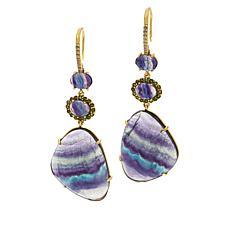 Rarities  Gold-Plated Fluorite and Multi-Gemstone Drop Earrings