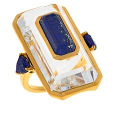 Rarities Gold-Plated Gem and Crystal Octagonal Ring