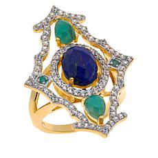 Rarities Gold-Plated Gemstone Abstract Ring