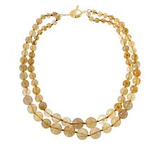 Rarities Gold-Plated Golden Rutilated Quartz 2-Row Beaded Necklace
