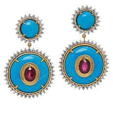 Rarities Gold-Plated Howlite, Ruby and Zircon Drop Earrings