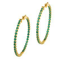 Rarities Gold-Plated Inside-Outside Gemstone Hoop Earrings