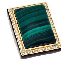 Rarities Gold-Plated Malachite and White Zircon Rectangle Ring