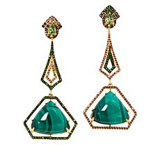 Rarities Gold-Plated Malachite Multigem Mismatched Dangle Earrings