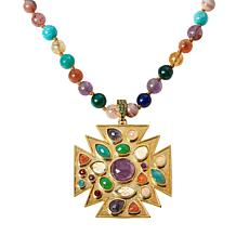 Rarities  Gold-Plated Multi-Gemstone Cross Pendant and Beaded Necklace