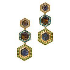 Rarities Gold-Plated Multi-Gemstone Hexagon Drop Earrings