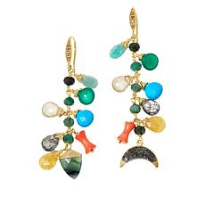 Rarities Gold-Plated Multi-Gemstone Mis-Matched Dangle Earrings