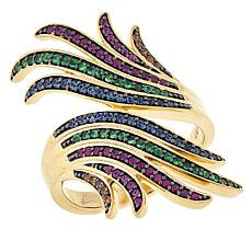 Rarities Gold-Plated Multicolor Sapphire, Ruby and Tsavorite Fan Ring