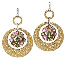 Rarities Gold-Plated Multicolor Tourmaline Hammered Drop Earrings