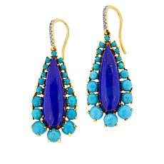 Rarities Gold-Plated Oval Lapis, Turquoise, White Zircon Drop Earrings