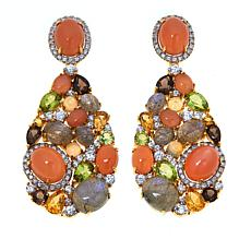 Rarities Gold-Plated Peach Moonstone and Multi-Gem Drop Earrings