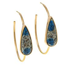 Rarities Gold-Plated Pear-Shaped Gemstone Hoop Earrings