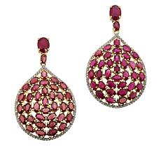 Rarities Gold-Plated Sterling Silver Gem and Zircon Drop Earrings