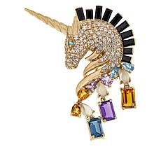 Rarities Gold-Plated Sterling Silver Multigem Unicorn Pin/Pendant
