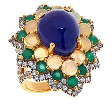 Rarities Gold-Plated Tanzanite, Opal, Emerald and White Zircon Ring