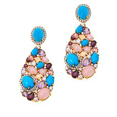 Rarities Goldtone Blue Howlite and Multi-Gemstone Drop Earrings