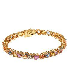 Rarities Goldtone Multicolor Sapphire and White Zircon Tennis Bracelet