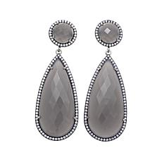 Rarities Gray Chalcedony and White Zircon Drop Earrings
