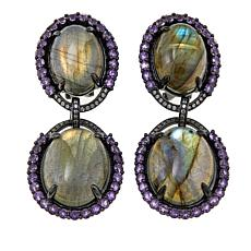Rarities Labradorite, Amethyst and White Zircon Oval Drop Earrings
