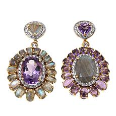Rarities Mismatched Labradorite, Amethyst & White Zircon Drop Earrings