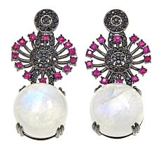 Rarities Moonstone, Ruby and Black Spinel Drop Earrings