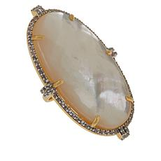 Rarities Mother-of-Pearl and White Zircon Oval Ring