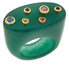 Rarities Multi-Gem Flat-Top Signet-Style Ring