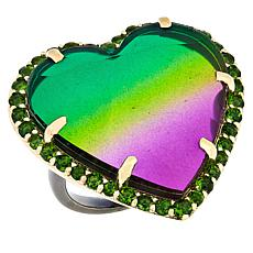 Rarities Multicolor Quartz Doublet and Chrome Diopside Heart Ring