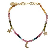 Rarities Multicolored Tourmaline Faceted Bead & Zircon Charm Bracelet