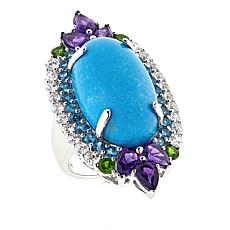 Rarities Multigemstone Sterling Silver Crown Design Ring