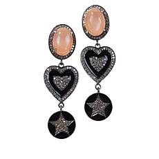 Rarities Peach Moonstone and Diamond Drop Earrings