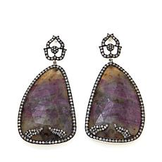 Rarities Pinkish Gray Sapphire and Diamond Earrings