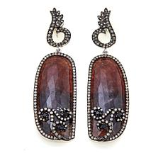 Rarities Red/Black Sapphire-Multigem Scroll Earrings