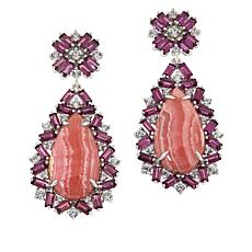 Rarities Rhodochrosite, Rhodolite and White Zircon Drop Earrings