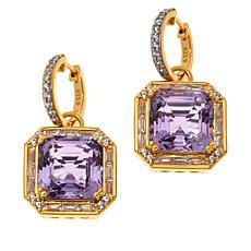 Rarities Rose de France Amethyst and White Zircon Drop Earrings
