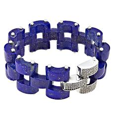 Rarities Sterling Silver Carved Lapis Link Bracelet
