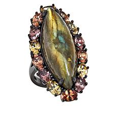 Rarities Sterling Silver Labradorite and Multi-Colored Zircon Ring
