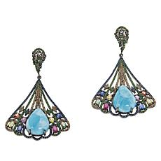 Rarities Sterling Silver Larimar and Multi-Gemstone Fan Drop Earrings