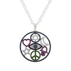 Rarities Sterling Silver Multi-Gemstone Talisman Pendant with Chain
