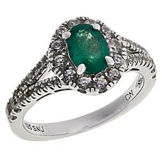 Rarities Sterling Silver Oval Emerald & White Zircon Halo-Design Ring