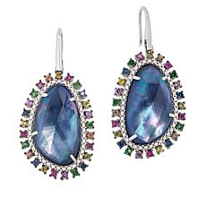 Rarities Sterling Silver Sapphire Doublet and Multi-Gem Drop Earrings