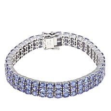Rarities Tanzanite 3-Row Sterling Silver Line Bracelet