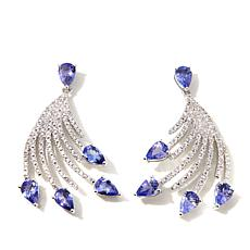 "Rarities Tanzanite and White Zircon ""Fan"" Earrings"